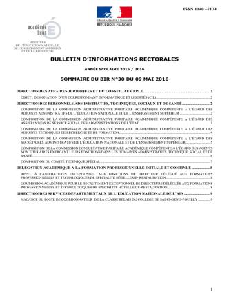 BIR 30 du 9 mai 2016