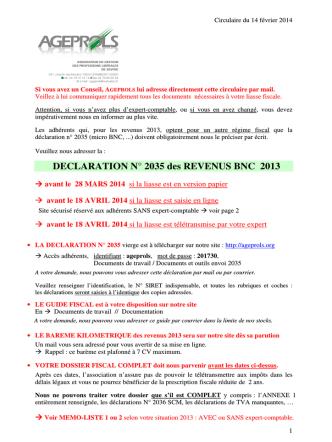 DECLARATION N° 2035 des REVENUS BNC 2013