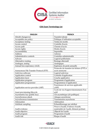 CISA Exam Terminology List French