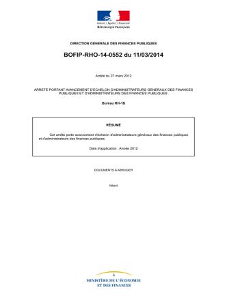 BOFIP-RHO-14-0552 du 11/03/2014