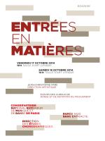 ENtrÉes en MAtières - Conservatoire national supérieur de musique