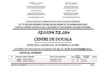 Centre de Douala Liste des candidats IJA