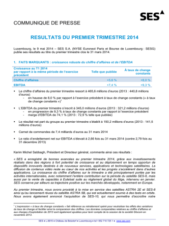 communique de presse resultats du premier trimestre 2014