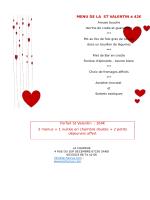 MENU DE LA ST VALENTIN à 42€ Forfait St Valentin