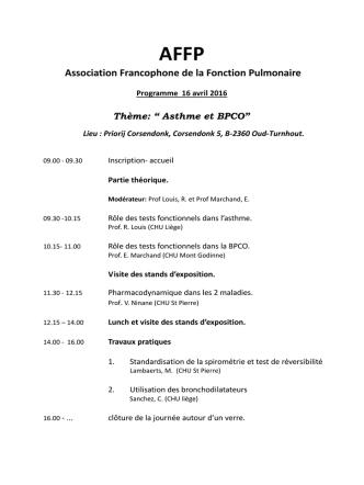 AFFP Association Francophone de la Fonction Pulmonaire