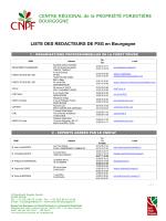 LISTE DES REDACTEURS DE PSG en Bourgogne