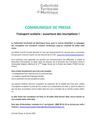 22/06/2016 - Transport scolaire : ouverture des inscriptions