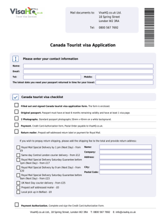 Canada Tourist visa Application - Canada visa