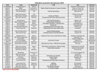 Calendrier provisoire des épreuves 2015