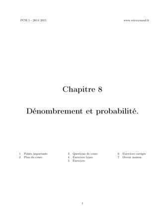 Chapitre 8 Dénombrement et probabilité.