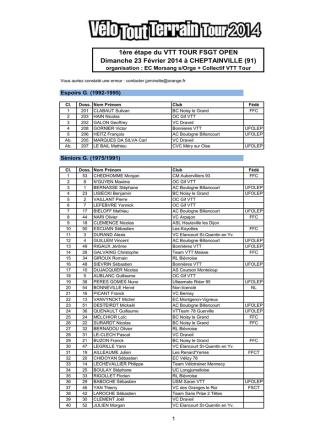 1ère étape du VTT TOUR FSGT OPEN Dimanche 23 Février 2014 à