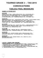 TOURNOI GRADE 3 - TAS 2015 CONVOCATIONS