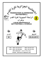 Tél. : 041.33.23.81 - Ligue Régionale de Football d`Oran