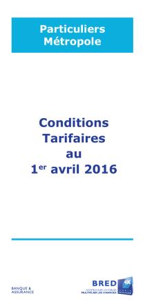 Conditions Tarifaires au 1er avril 2016