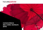 nomenclature des codes secteurs 2016