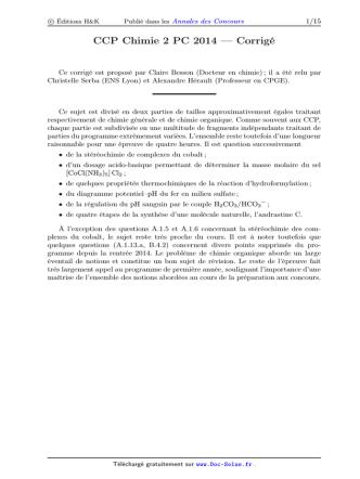 CCP Chimie 2 PC 2014 — Corrigé