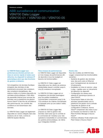 ABB surveillance et communication VSN700 Data Logger VSN700