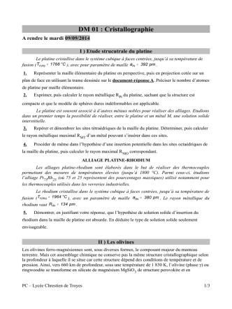 Cristallographie - Chimie en PC et PCSI au lycée Chrestien de Troyes