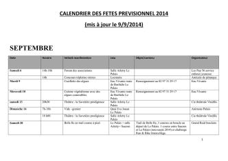 Calendrier des fêtes - Communauté de communes de Belle-Île-en-Mer