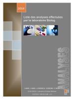 Liste des analyses effectuées par le laboratoire Biolog