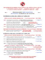 PROGRAMME PRÉVISIONNEL TENTATIVE SCHEDULE OF EVENTS