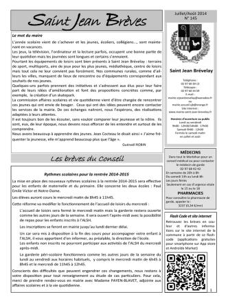 Brèves Juillet-Août 2014 - Mairie de Saint Jean Brévelay