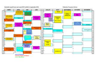 Calendrier des compétitions 2015
