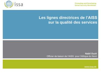 2)-Présentation des lignes directrices de l´AISS sur la qualité des