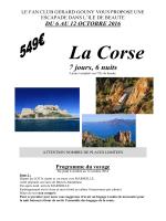 Programme du voyage en Corse