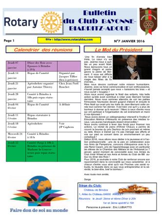 Bulletin du Club BAYONNE-