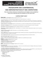 Programme des conférences, des démonstrations et des animations