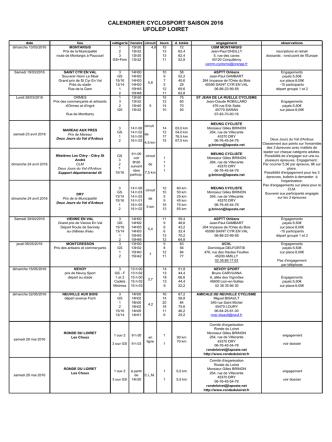calendrier cyclosport saison 2016 ufolep loiret