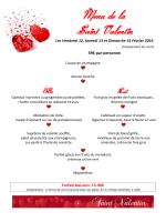 Menu de la Saint Valentin - Golf de la Grange-aux