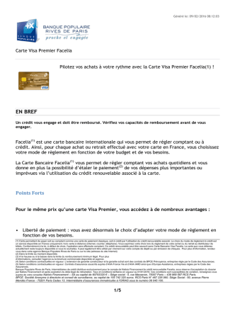 Carte Visa Premier Facelia - Banque Populaire Rives de Paris