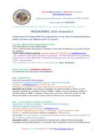 Programme 2016 Semestre 1 - geologie