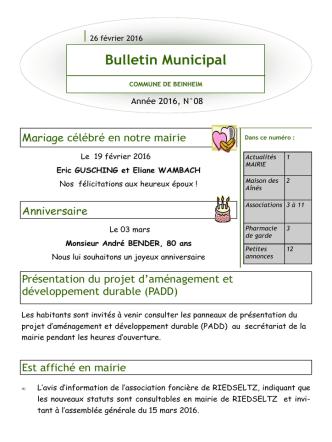 Bulletin d`Informations Municipal 08/2016 Période du 26