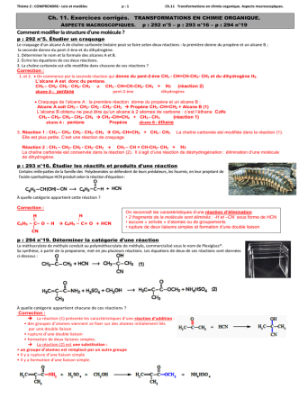 Ch.11.Correction exercices p:295 n°15 (craquage du pen-2-ène)