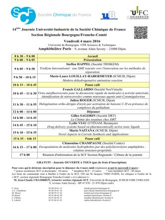 14ème Journée Université-Industrie de la Société Chimique de