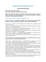 Programme détaillé JNGG 2016 – Nancy Mercredi 6 juillet 2016