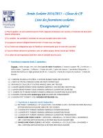 Liste des fournitures scolaires CP - Groupe scolaire Lucien de Hirsch