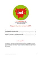 Bel - Rapport financier semestriel 2014