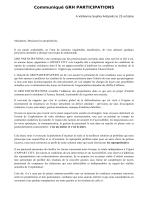 Communiqué GRH PARTICIPATIONS