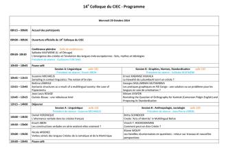 14e Colloque du CIEC - Programme