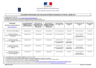 Calendrier externe 2015 des concours de la douane