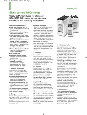 Block battery Ni-Cd range