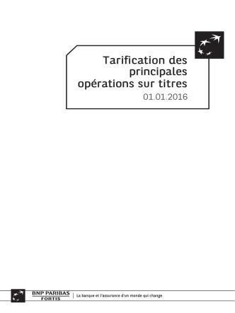 BNP Paribas Fortis - tarification des principales opérations sur titres