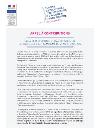 APPEL À CONTRIBUTIONS - Ministère de la Défense
