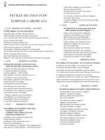 feuille de chants du temps de careme 2016