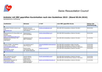 Anbieter geprüfte Kurse GL 2015 im Alphabet