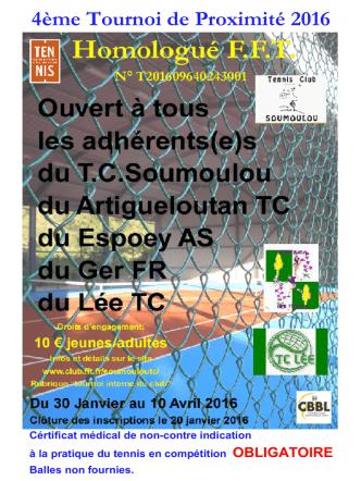 4ème Tournoi de Proximité 2016 Homologué FFT N